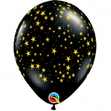 Stars-A-Round (Black w.Gold Ink) - 11 Inch Balloons 25pcs